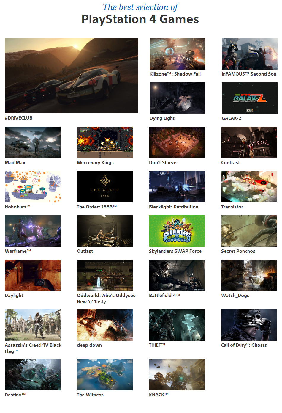Sony shows stellar PS4 line-up on official site - indies and blockbuster games